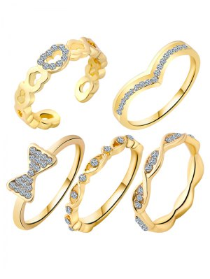 Bowknot Rhinestone Heart Rings - Golden