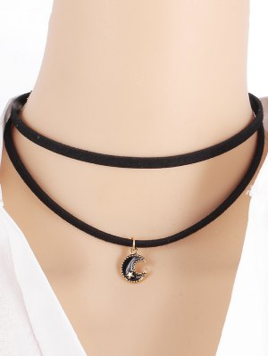 Moon Star Necklace - Black