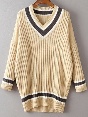 V Neck Striped Long Sleeve Sweater - Light Khaki