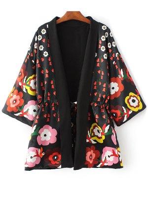 Floral Print 3/4 Sleeve Waisted Kimono Coat - Black
