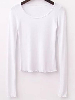Solid Color Long Sleeve T-Shirt - White