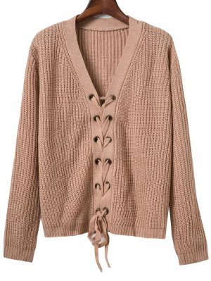 Lace Up Solid Color V Neck Sweater - Dark Khaki