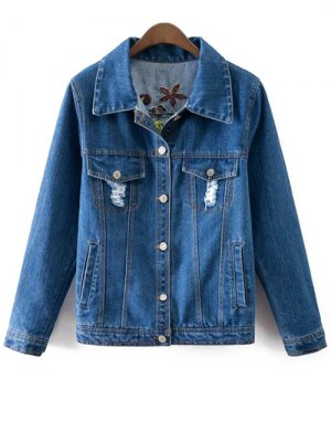 Floral Embroidery Shirt Neck Ripped Denim Jacket - Blue