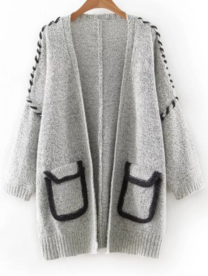 Pockets Patchwork Long Sleeve Long Cardigan - Gray