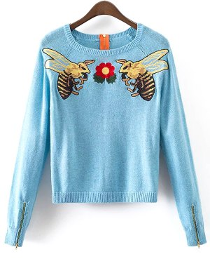 Honey Bee Embroidered Sweater - Light Blue