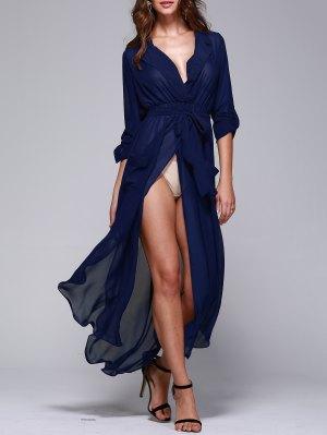 Solid Color Lapel Collar Pockets Belted Dress - Blue