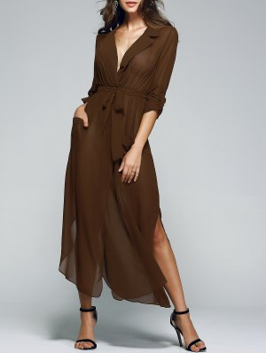 Solid Color Lapel Collar Pockets Belted Dress - Coffee