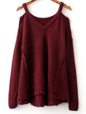 Distressed Cold Shoulder Sweater - Wine Red