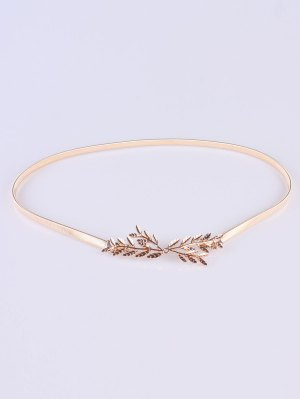 Small Leaf Branch Elastic Waist Belt - Golden