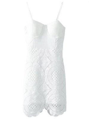 Lace Spliced Spaghetti Straps Padded Dress - White