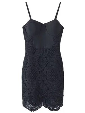 Lace Spliced Spaghetti Straps Padded Dress - Black
