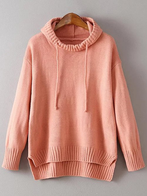 Hooded Uneven Hem Sweater