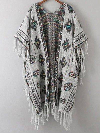 Abstract Print Tassels Spliced Cape CardiganClothes<br><br><br>Size: ONE SIZE<br>Color: GRAY