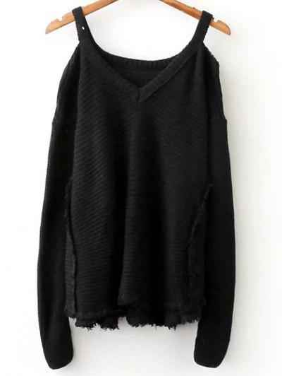 Cold Shoulder Distressed Sweater