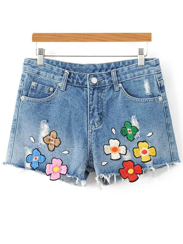 Applique Floral Embroidery Ripped Denim Shorts