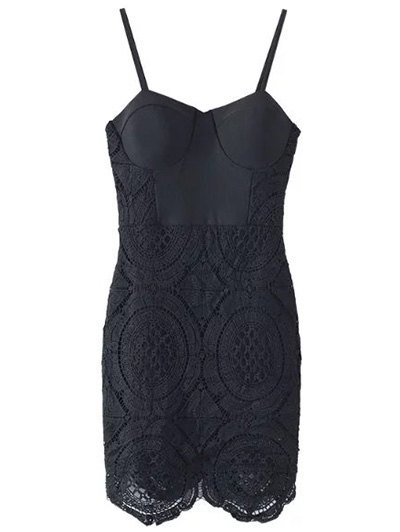 Lace Spliced Spaghetti Straps Padded Dress
