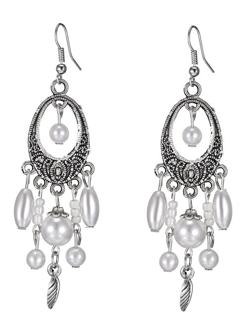 Artificial Pearl Leaf Earrings