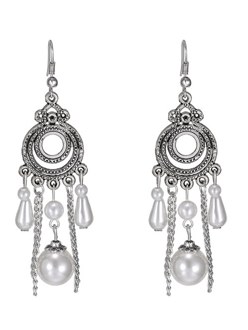 Artificial Pearl Circle Earrings