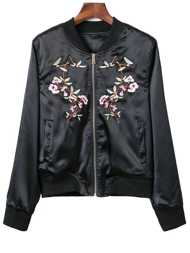 Stand Neck Pockets Floral Embroidery Jacket
