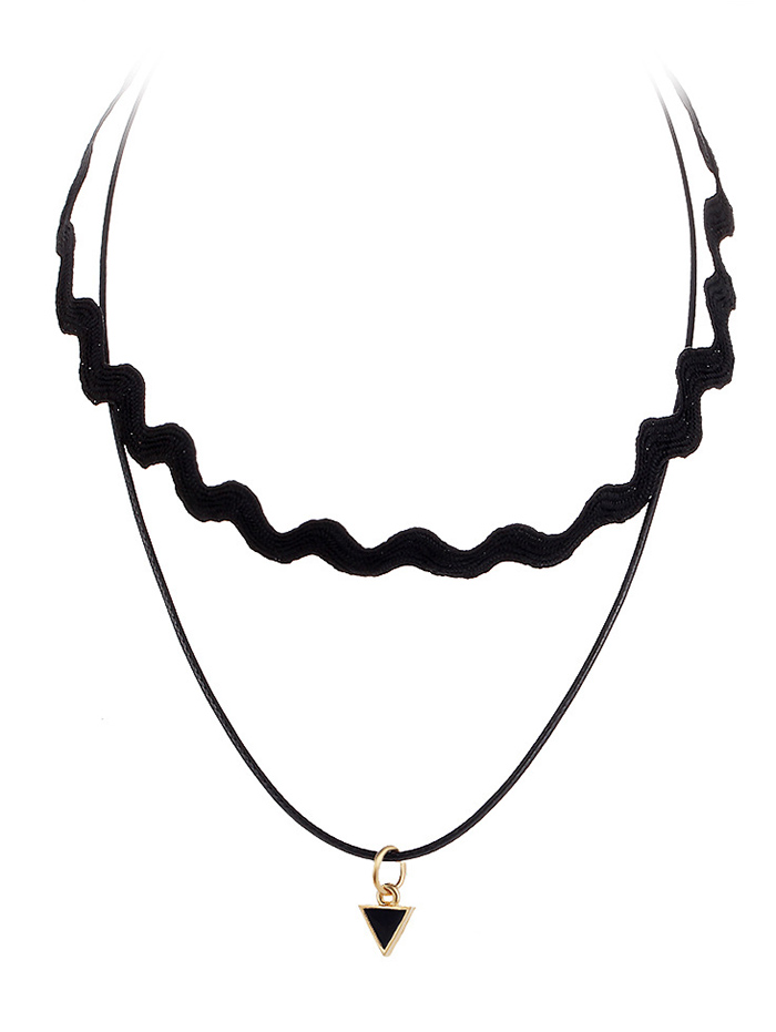 Faux Leather Rope Triangle Necklace
