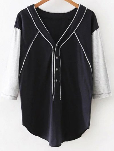 V Neck 3/4 Sleeve Hit Color T-Shirt