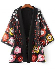 Floral Print 3/4 Sleeve Waisted Kimono Coat