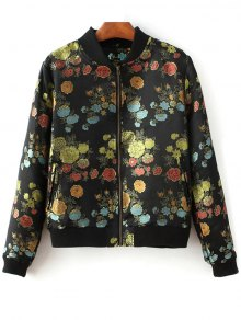 Flower Embroidery Zippered Bomber Jacket