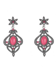 Rhinestone Floral Earrings - Red