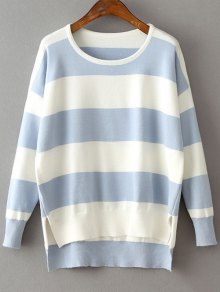High Low Hem Round Neck Striped Sweater - Light Blue