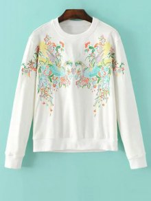 Buy Round Neck Phoenix Embroidery Sweatshirt - WHITE S