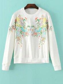 Buy Round Neck Phoenix Embroidery Sweatshirt - WHITE M