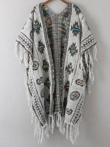 Buy Abstract Print Tassels Spliced Cape Cardigan - GRAY ONE SIZE