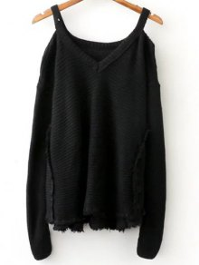 Distressed Cold Shoulder Sweater - Black