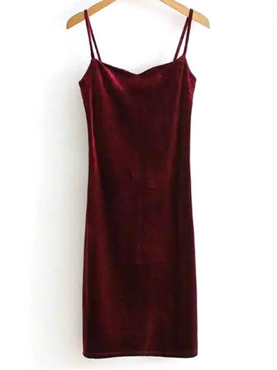فستان سهرة المخمل  الشائع باللون الواحد ذو الشريط الرفيع - نبيذ أحمر حجم واحد