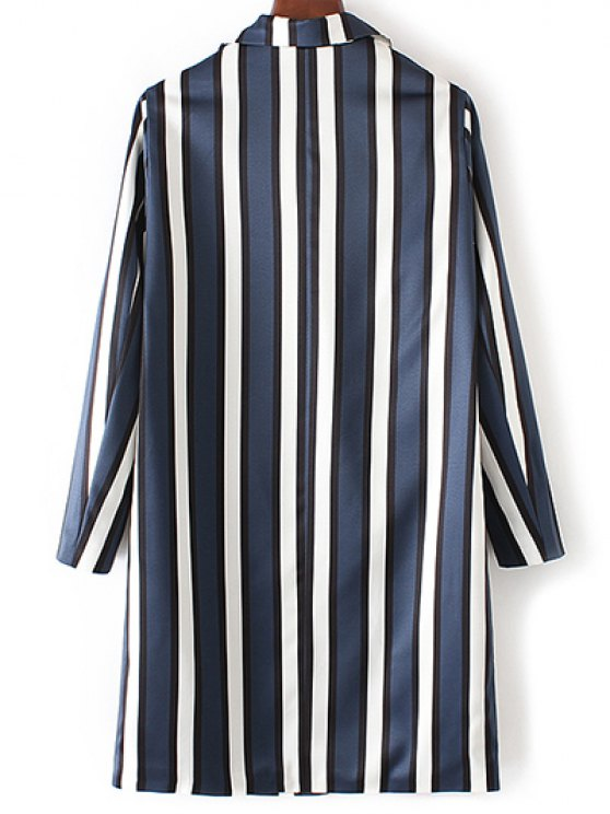 Striped Lapel Collar Long Sleeve Coat - BLUE AND WHITE S Mobile