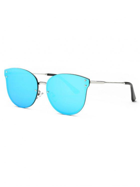Frameless Cat Eye Mirrored Sunglasses - BLUE  Mobile