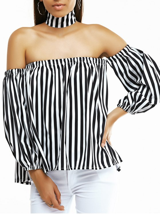 women's Off The Shoulder Lantern Sleeve Striped Loose Blouse - WHITE AND BLACK M