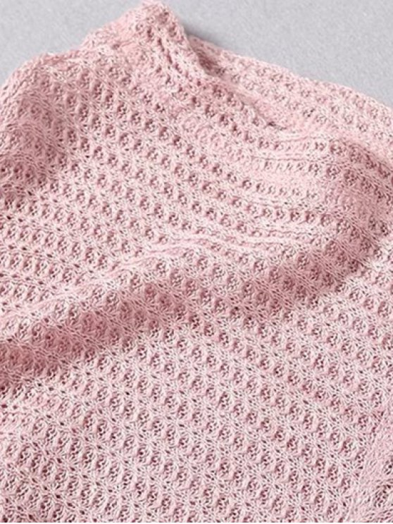 Loose Fitting Slash Neck Batwing Sleeve Sweater - LIGHT PINK ONE SIZE Mobile