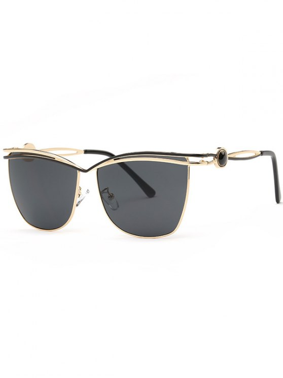 unique Crossbar Cut Out Sunglasses - BLACK GREY