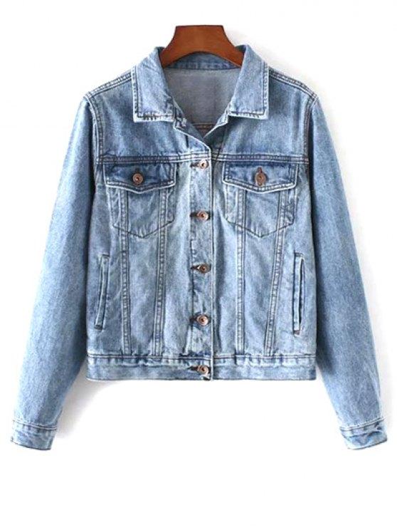 Pockets Shirt Neck Denim Jacket - DENIM BLUE S Mobile