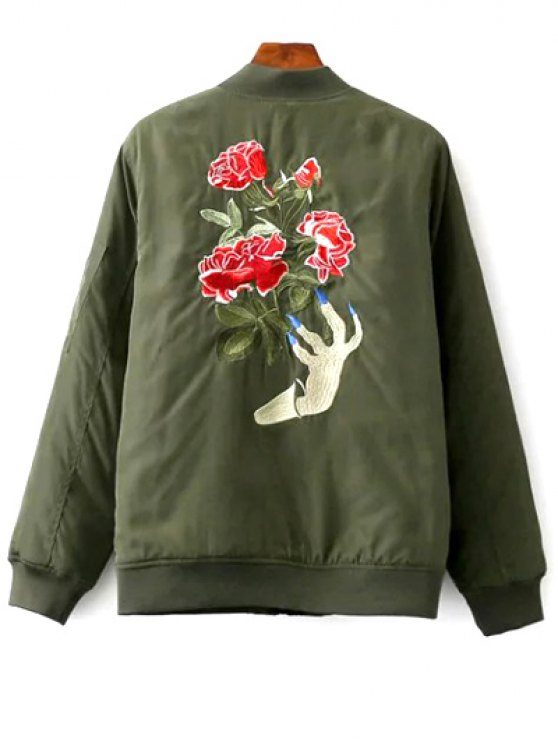 Floral Embroidered Stand Neck Zipper Jacket - ARMY GREEN S Mobile