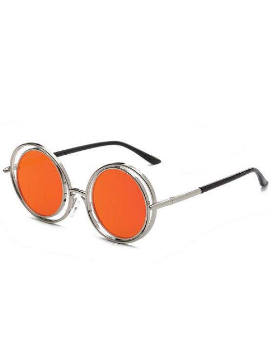 Retro gafas de sol de espejo redondo - Rojo