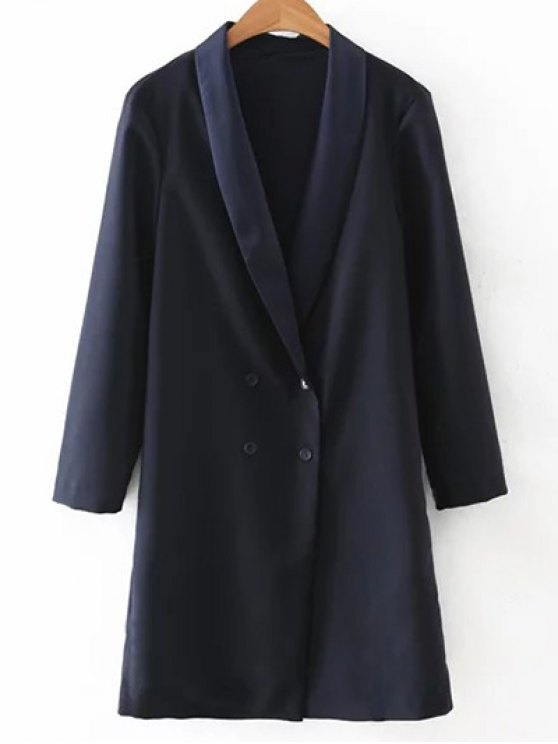 shops Turn-Down Collar Double-Breasted Coat - PURPLISH BLUE M