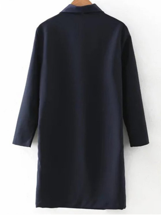 Turn-Down Collar Double-Breasted Coat - PURPLISH BLUE M Mobile