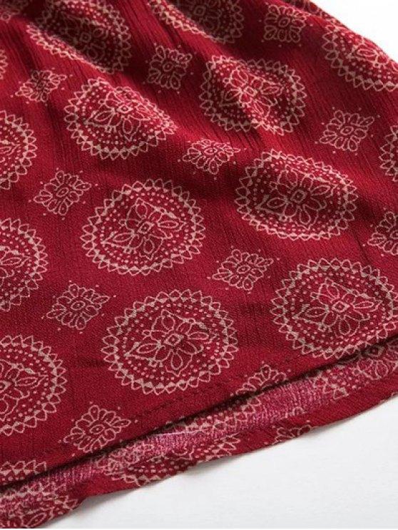 V Neck Lace Up Printed Romper - RED L Mobile