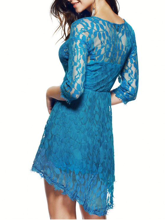 Sheer Sleeve Lace Skater Dress - BLUE S Mobile