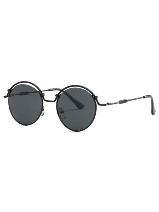Gafas de sol del marco del alambre ahuecados - Negro