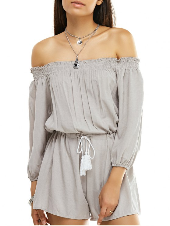 women's Solid Color Off The Shoulder Drawstring Romper - APRICOT S