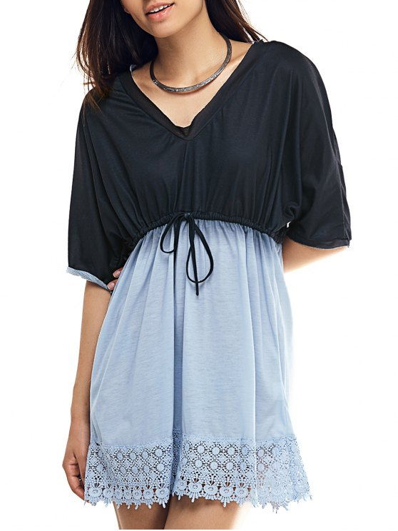 Plunging Neck Bat-Wing Sleeve Lace Spliced Ombre Dress - BLACK L Mobile