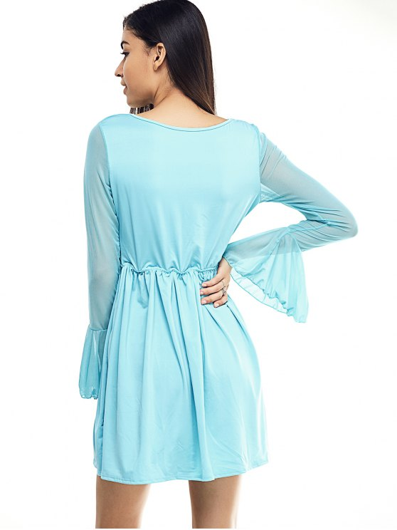 Mesh Spliced Scoop Neck Flare Sleeve Dress - LIGHT BLUE S Mobile